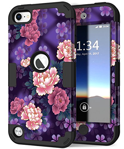 Hocase iPod Touch 5/6 Case, Heavy Duty Protection Shockproof Hard Plastic+Silicone Rubber Hybrid Dual Layer Full-Body Protective Case for iPod Touch 5th/6th Generation - Purple Flowers