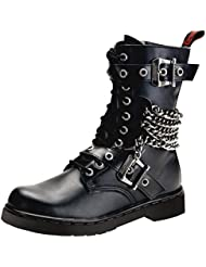 Summitfashions Mens Black Combat Boots Vegan Leather Lace up Shoes Chains Buckles 1 inch Heel