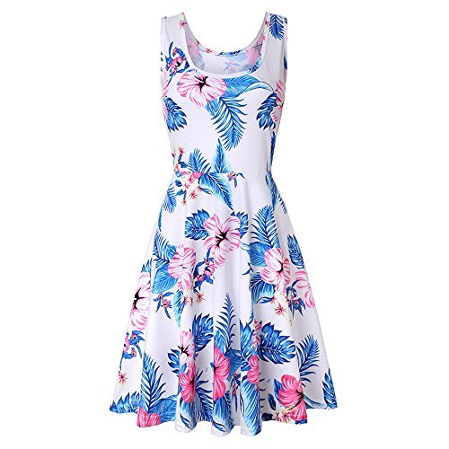 Casual amp;Sleeveless Wobuoke Dress Party Three Women Mini sleeveless Quarter Sleeve Swing Dress 02 A Line White Printing Floral nPnzwvq
