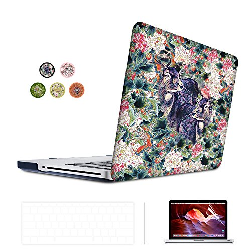 SUNKY MacBook Pro 13 inch Retina Case, Hard PC Snap-on Rubberized Soft-Touch Cover Keyboard Skin HD Screen Protector (A1502 A1425) for MacBook Retina Display 13 inch(NO CD-ROM Drive) - Deear (Display No Drive)