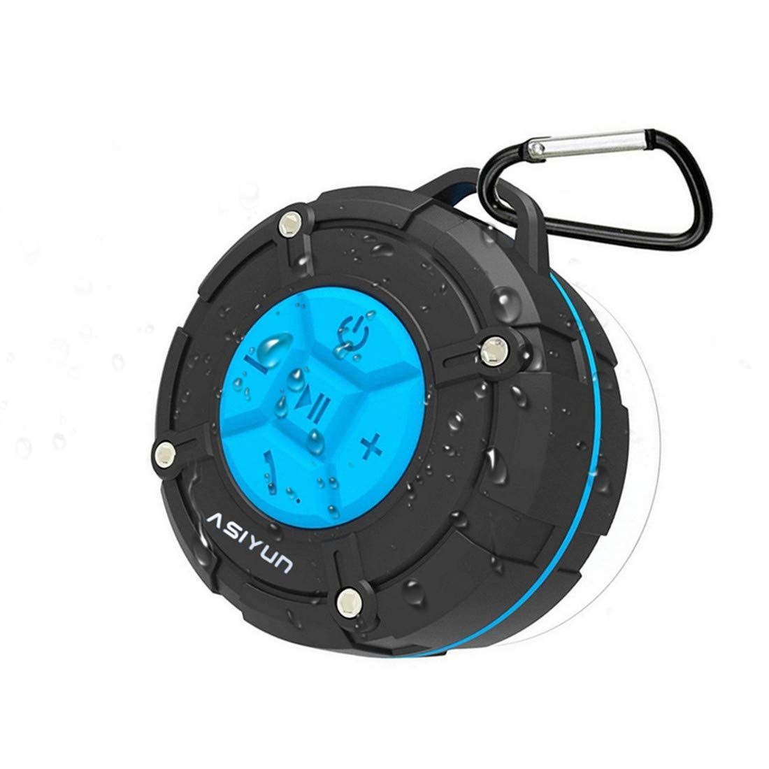 ASIYUN Shower Radios, Waterproof Speaker with Louder HD Sound, 4H Playtime Portable Wireless Speaker with Suction Cup & Sturdy Hook, Built in Mic, for Bathroom, Pool, Beach, Outdoor (Blue) by ASIYUN