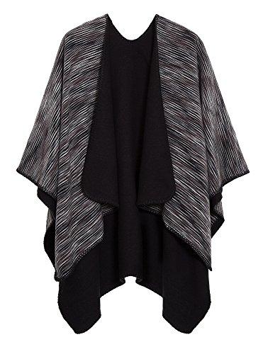 Urban CoCo Women's Color Block Shawl Wrap Open Front Poncho Cape (Series 15-Black)