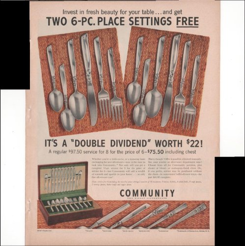 Community The Finest Silverplate Silverware Two 6-PC Place Settings For Free Dining Use 1957 Vintage Antique Advertisement