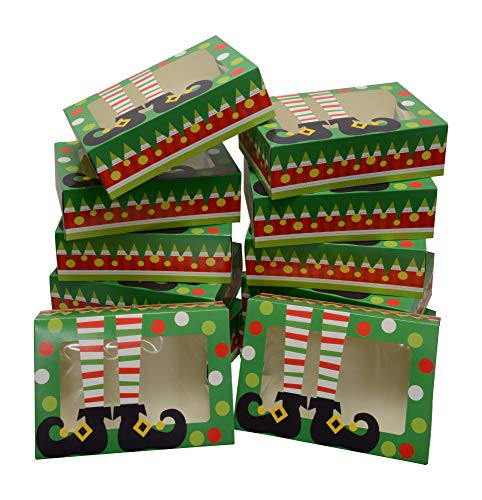 Christmas Holiday Gift Box - Christmas Cookie gift boxes; rectangular with clear window; colorful paperboard with holiday designs; set of 12 with 12 stickers for sealing (Green Elf - NO STICKERS)