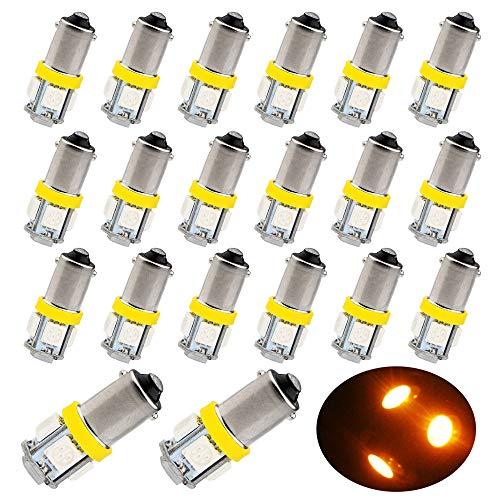 EverBrightt 20-Pack Yellow BA9S 5050 5SMD Led Lights Side Maker Light Bulbs 12V ()