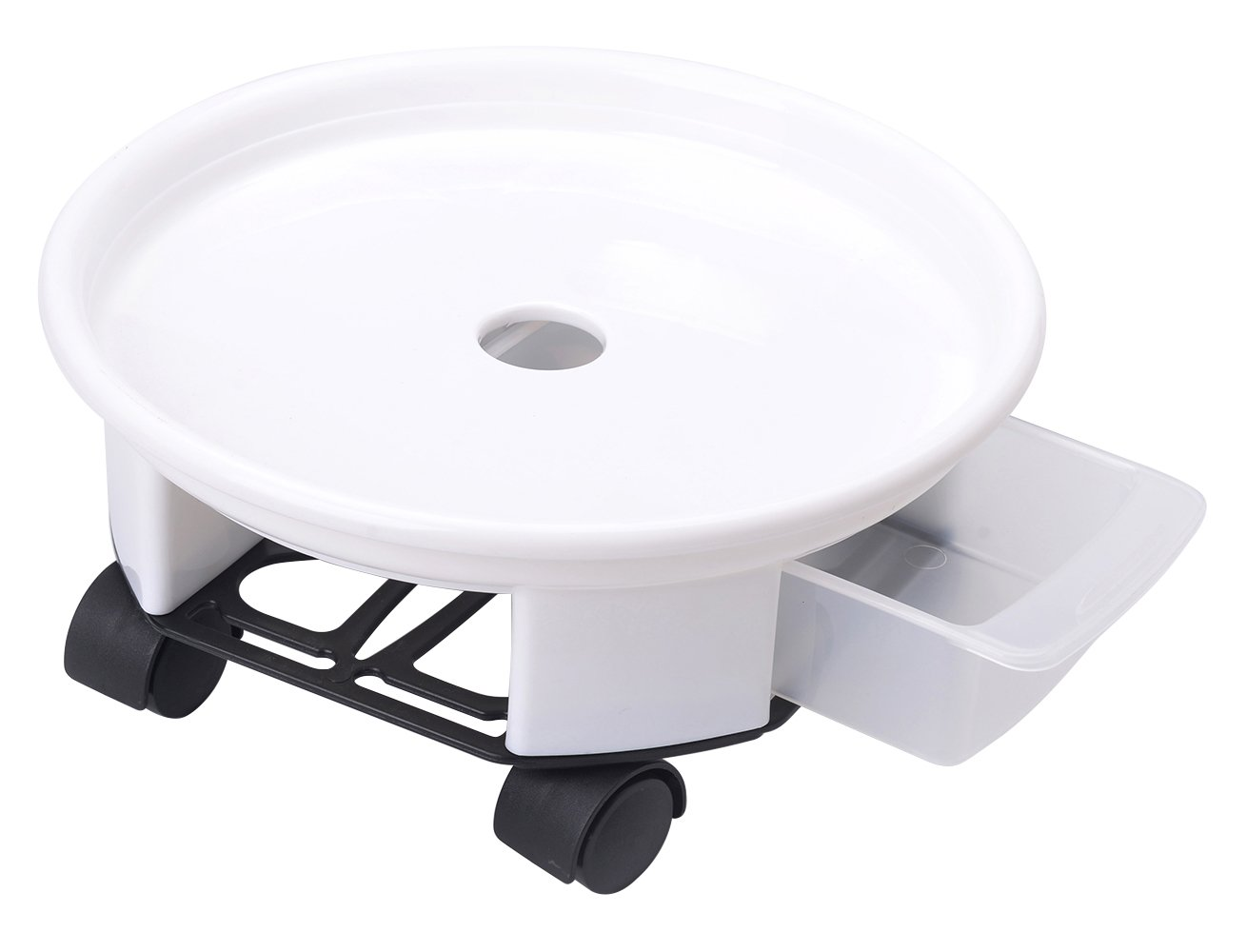 10.6'' Plant Caddy,Round Plant Dolly Trolley Saucer Moving Tray Pallet with Wheels and a Water Container,White,90 Count by Zhanwang