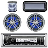 "Kenwood KMR-M315BT In-Dash Marine Boat Audio Bluetooth Radio Receiver Bundle Combo W/ Pair Of Enrock 6.5"" Dual-Cone Speakers + Stereo Waterproof Cover + 18g 50FT Marine Speaker Wire (Black / Chrome) -  Enrock Kenwood Pyle"