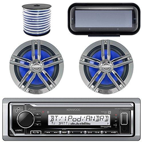 Kenwood KMR-M315BT In-Dash Marine Boat Audio Bluetooth Radio Receiver Bundle Combo W/ Pair Of Enrock 6.5