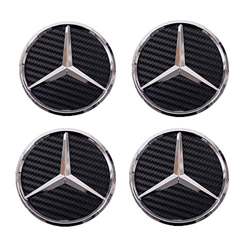 (ESKey 75mm Replacement of Mercedes Wheel Center Rims Hub Caps with 4 pack, Black Carbon hubcaps Cover Car Logo Chrome Emblem Fit for Benz C ML CLS S GL SL E CLK CL GL)