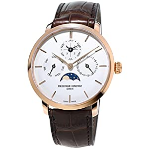 Frederique Constant Men's Slimline Perpetual 42mm Brown Alligator Leather Band Automatic Watch FC-775V4S4