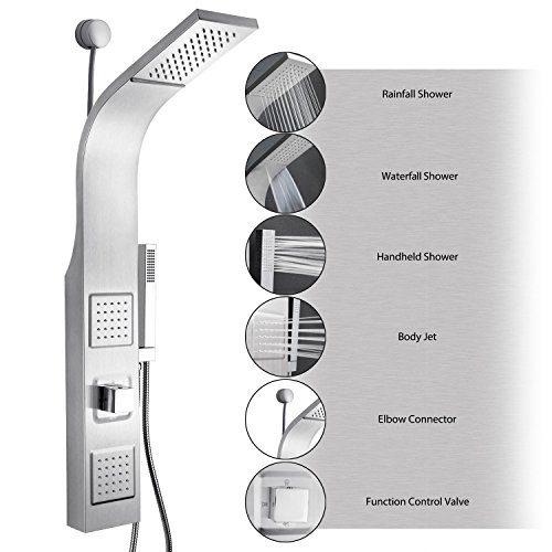 "shower+wall Products : AKDY 39"" Stainless Steel Wall Mount Easy Connection Rainfall Waterfall Overhead Multi-Function Shower Tower Panel Massage Spray"
