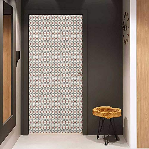 (Onefzc Wood Door Sticker Geometric Stars Rhombuses and Squares on Polygonal Background with Retro Inspirations Easy-to-Clean, Durable W38.5 x H79 Beige Ruby Taupe)