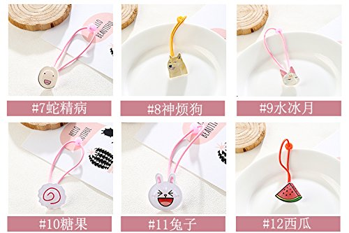 Generic 6 sets Korean version of the new fashion trend of small cherry Ms. cute animal Women Head hair rope Ties Ponytail Holder Band Hairband hair tie rubber band hair accessories by Generic (Image #2)