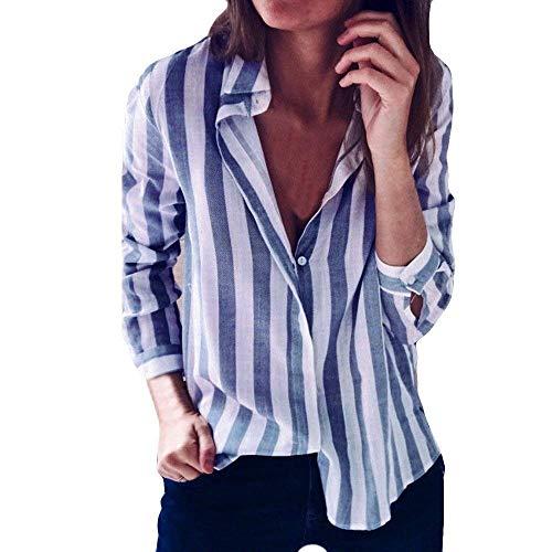 Breasted Manica Bavero Sciolto Primaverile Blusa Camicetta Single Eleganti Vintage Tops Moda Donna Grazioso Stlie Camicie Stripe Camicie Autunno Blau Donna Bluse Lunga Allentato f6faqnSz