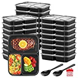Meal Prep Containers [25 Pack] 32 Oz. 3 Compartment Food Prep Containers, Reusable Freezer Containers Bonus 25 Pack Fork-BPA Free, Stackable, Heavy Duty Lunch Box, Microwave, Dishwasher/Freezer Safe