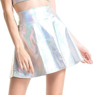 Faldas Cortas Mujer Mini Falda Plisada Acampanada metálica ...