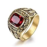 MASOP Retro Eagle Stainless Steel Rings for Men High School Red Crystal Gold Tone Jewelry Size 8-15