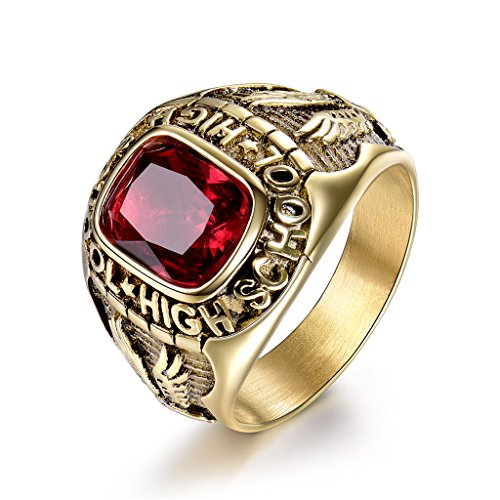 MASOP Vintage Red Stone Stainless Steel Mens Rings High School Flying Eagle Size 8