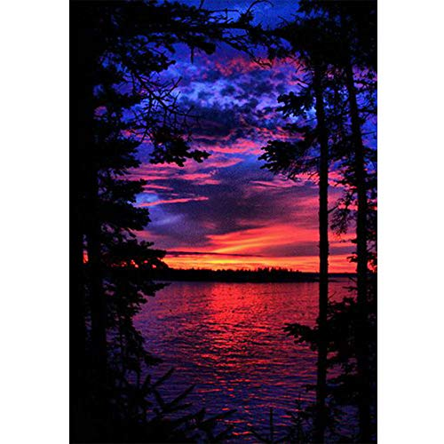 Leezeshaw 5D DIY Diamond Painting by Number Kits Fameless Rhinestone Embroidery Paintings Pictures for Home Decor - Sunset 30x40cm ()