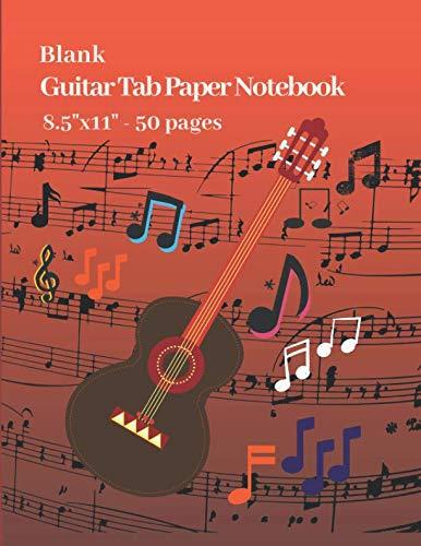 Blank Guitar Tab Paper Notebook 8.5