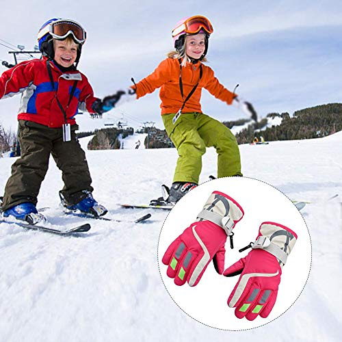 - ski gloves kids winter warm waterproof windproof thermal snowboard anti slip cold weather snow skiing snowboarding cycling per children's lining outdoor sports mittens for 3-6 years old boy girls