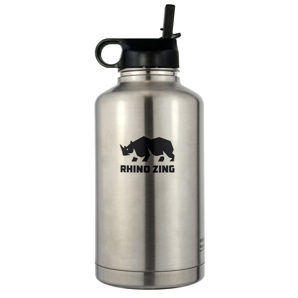 64 Oz Growler Stainless Steel Bottle Straw Lid Rhino Zing SYNCHKG098332