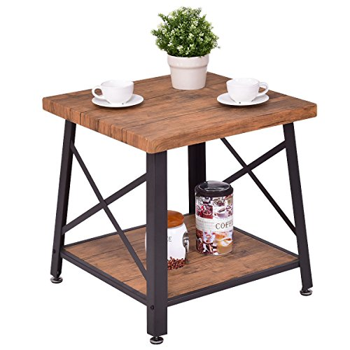 Square Coffee Table Cocktail End Table Metal Frame Wood Top w/ Storage Shelf New