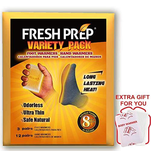 - FRESH PREP Hand, Foot Warmer Variety Heat Pack - Long Lasting Safe Natural Odorless Air Activated Warmers, 12 Pairs Hand + 3 Pairs Foot