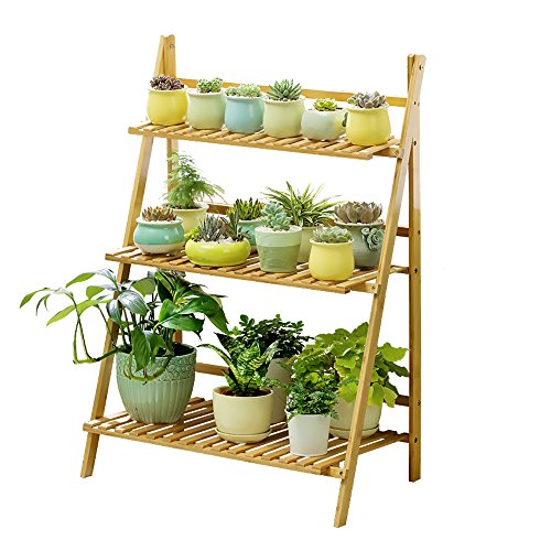 Ufine Bamboo Wood Ladder Plant Stand 3-Tier Foldable Flower Display Shelf Rack for Home Patio Lawn Garden Balcony Holder (Multi-Functional,27.6 x 15.0 x 35.4 inch,3 Tools Sent) (Plant Holder Wooden)