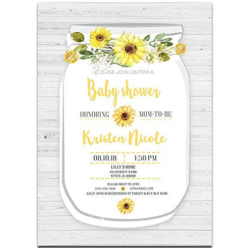 Amazon Com Rustic Wooden Mason Jar Baby Shower Invitations Handmade