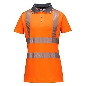 Portwest LW72ORRL Hi-Vis - Polo para mujer, talla L, color naranja ...