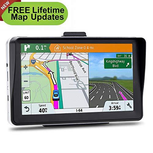 7 inches Car GPS, 8GB Navigation System for Cars Lifetime Map Updates Touch Screen Real Voice Direction
