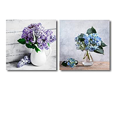 Canvas Wall Art - Still Life with Blue Hortensia Flowers and Lilacs in Glass vase | Modern Home Art 2 Panel Canvas Prints Giclee Printing & Ready to Hang - 12