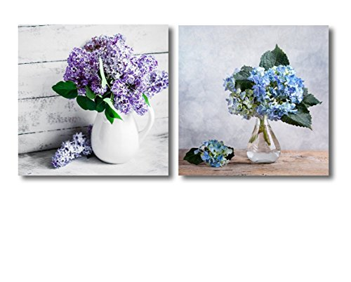 Still Life with Blue Hortensia Flowers and Lilacs in Glass vase 2 Panel ing x 2 Panels