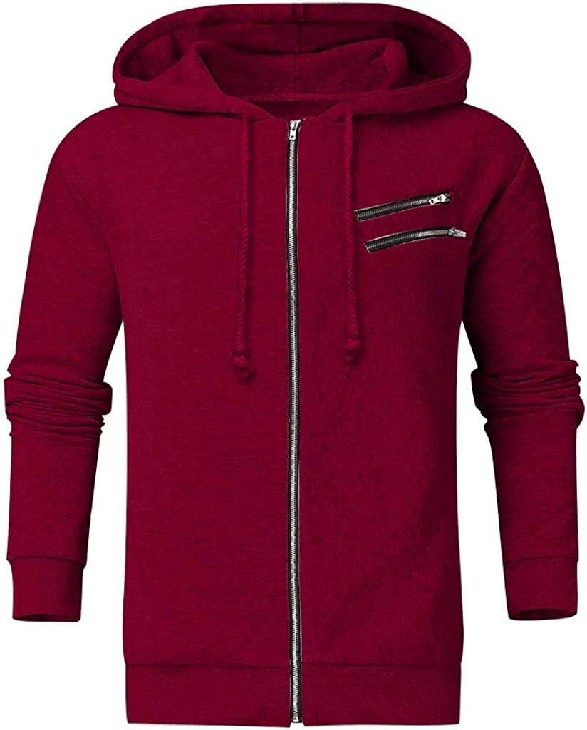 F/_Gotal Mens Color Block Patchwork Hooded Pullover Drawstring Hoodie Sweatshirt with Big Pockets Outwear