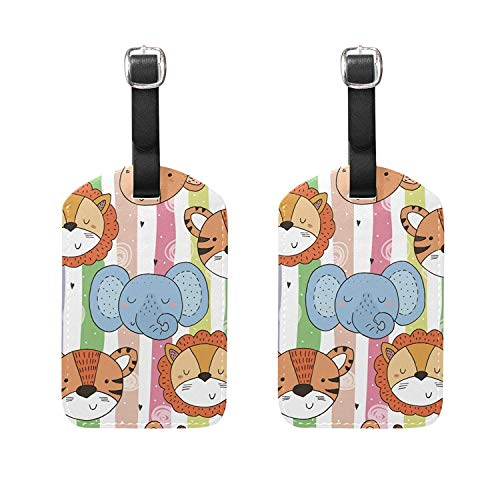 Set of 2 Luggage Tags Elephant Tiger Lion Suitcase Labels Travel Accessories]()