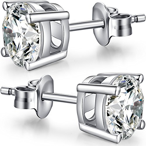- Sterling Silver Round Cubic Zirconia Stud Earrings Mens Diamond Earrings 18K Gold Plated Silver Brilliant Cut Simulated Diamond Cz Stud Earrings Sterling Silver Studs Sterling Silver Diamond Earrings