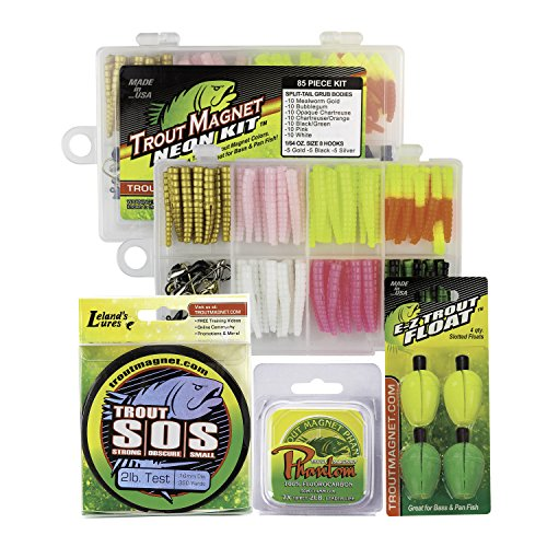 Trout Magnet Ultimate Bundle - 85 Piece Neon Grub Kit, 350 yd Trout S.O.S. Spool, 100% Fluorocarbon Phantom Leader Line, and 4 E-Z Trout Floats ()