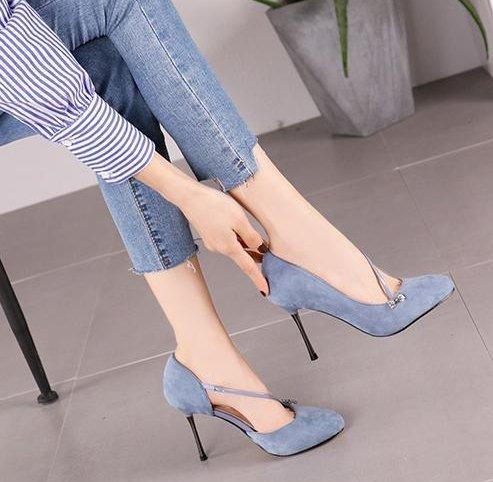 5Cm Mouth Fashion Single Heel Elegant Suede 35 Shallow 8 Drill Elegant Water Shoes Leisure Lady Lady Spring MDRW Blue Temperament Heels Work Fine xnwH7q6v0R