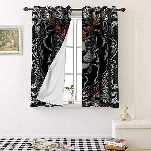 King Blackout Draperies for Bedroom Forest Jungle Emperor Safari Animal Lion with Medieval Design Frame Print Curtains Kitchen Valance W72 x L63 Inch Grey White Coral -