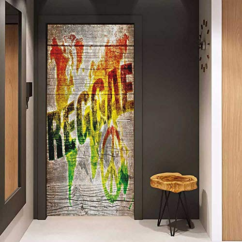 Door Wall Sticker Rasta World Map on Plaques with Reggae Lettering and Peace Symbol Mural Wallpaper W23 x H70 Pale Brown Green Yellow and Orange