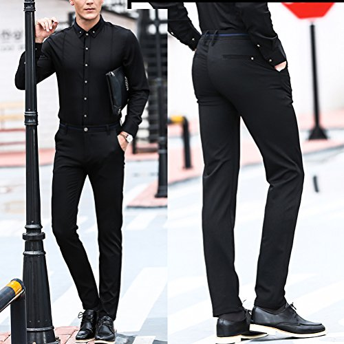 Zhhlinyuan pantalones de traje Mens Business Suit Trousers Formal Casual Business Office Work Trousers Black