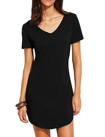 Haola Women's Summer Short Sleeve Slim Fit Shirts Mini Dresses Juniors Dress Top by Haola
