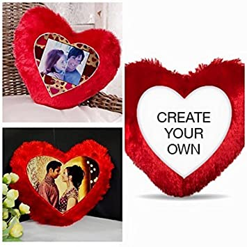 R B Store Red Fur Heart Pillow