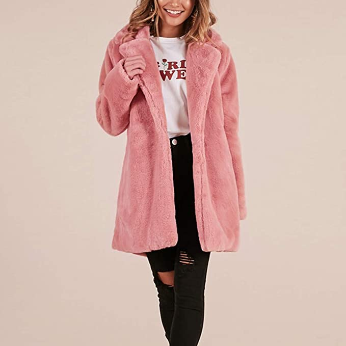 Amazon.com: Besde Womens Winter Parka Outwear Faux Fur Coat Jacket Lapel Solid Slim Zipper Jacket Overcoat with Pockets: Pet Supplies