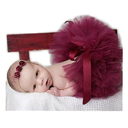 Infant Fashion (Fashion Unisex Newborn Girl Baby Outfits Photography Props Headdress Tutu Skirt (Dark Red))
