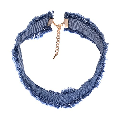 Denim Necklace Womens - Spinningdaisy 90's Wide Band Blue Jean Denim Choker (Blue)