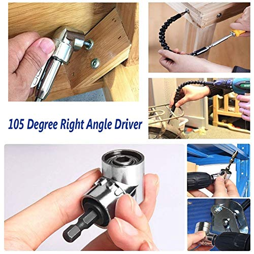 105 Degree 1//4 inch Right Angle Drill Adapter Hex Shank Screwdriver Angled Bit Holder Power Drill Tool and Flexible Angle Extension Bit Kit Flexible Angle Drill set