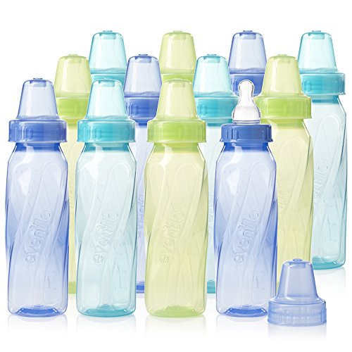 Evenflo Feeding Classic Tinted Plastic Standard Neck Bottles for Baby, Infant and Newborn - Teal/Green/Blue, 8 Ounce (Pack of 12) from Evenflo Feeding