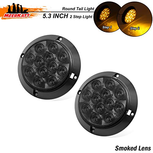 "Meerkatt (Pack of 2) 4"" Round Smoked Lens Amber 12 LED Multi-Function Turn Signal Trailer Tail Light Surface Mount Waterproof for Caravan RV Truck Jeep Bus Tractor Tow 12V DC Ultra Bright F3 Bulb GK12 - Ultra Tow Brake"